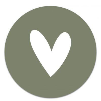 Muurcirkel Hart Groen/Wit – 20 cm