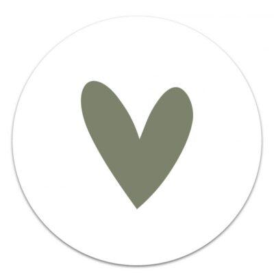 Muurcirkel Hart Groen – 20 cm