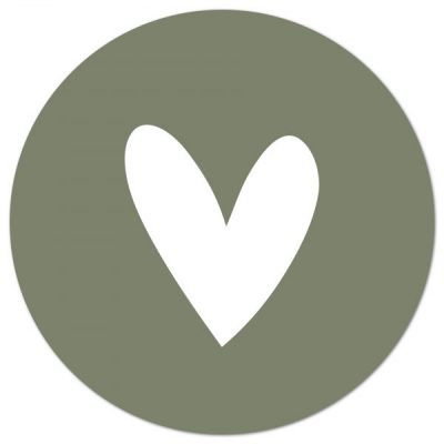 Muurcirkel Hart Groen/wit – 30 cm
